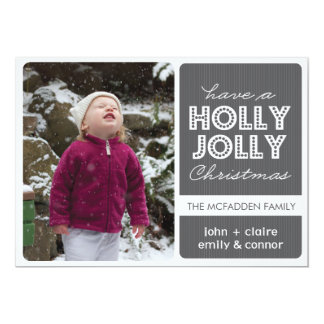 'Holly Jolly' (Graphite) Holiday Photo Card 13 Cm X 18 Cm Invitation Card