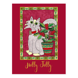 Holly Jolly Gray & White Cat Personalized Holiday Postcard