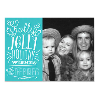 Holly Jolly Handlettered Holiday Wishes Photo Card 13 Cm X 18 Cm Invitation Card