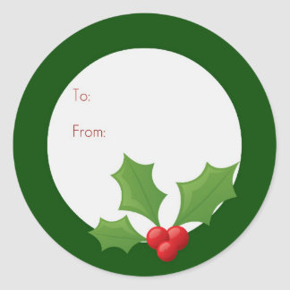 Holly Jolly Label Round Sticker