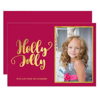 Holly Jolly magenta gold calligraphy script photo Card
