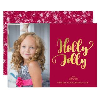 Holly jolly modern calligraphy brush script photo card