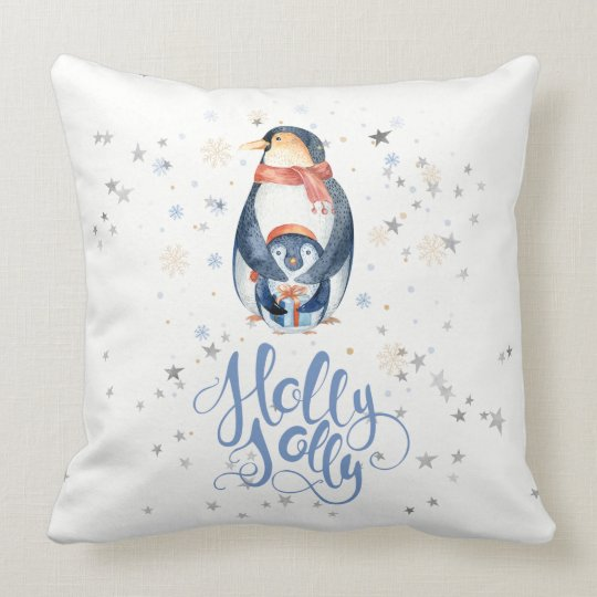 Holly Jolly Modern Typography & Christmas Penguins Cushion