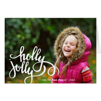 Holly Jolly Photo Holiday Greeting Card   Beige