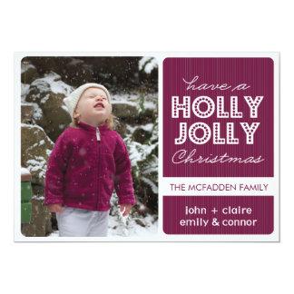 'Holly Jolly' (Raspberry) Holiday Photo Card 13 Cm X 18 Cm Invitation Card