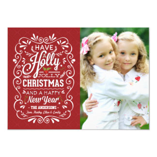 Holly Jolly Red White Christmas Holiday Photo Card 11 Cm X 16 Cm Invitation Card