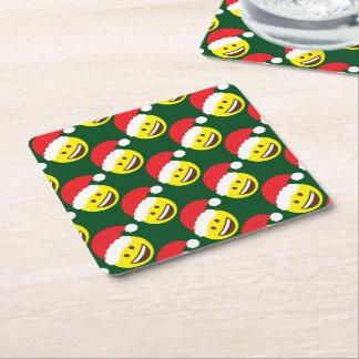 Holly Jolly Santa Emoji Square Paper Coaster