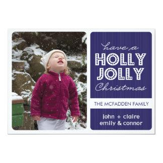 'Holly Jolly' (Sapphire) Holiday Photo Card 13 Cm X 18 Cm Invitation Card