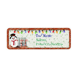 Holly Jolly Snowman  GIFT ADDRESS Return Address Label