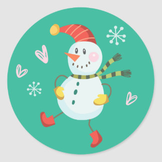 Holly Jolly Snowman Holiday Stickers | Emerald