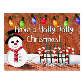 Holly Jolly Snowman Postcard