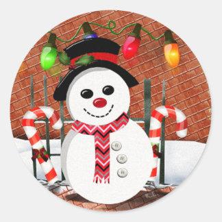 Holly Jolly Snowman Round Sticker