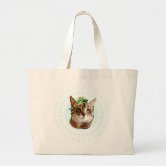 Holly Jolly Tabby Cat Christmas Large Tote Bag
