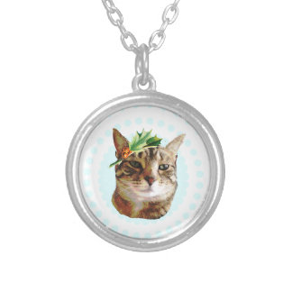 Holly Jolly Tabby Cat Christmas Silver Plated Necklace