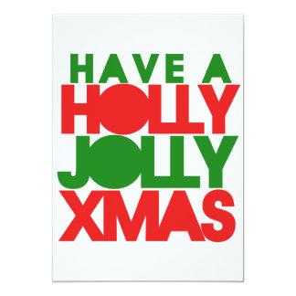 Holly Jolly Xmas 5x7 Paper Invitation Card