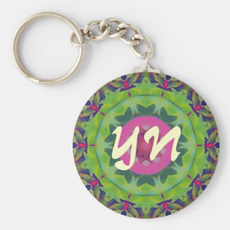 Holly Kaleidoscope Basic Round Button Key Ring
