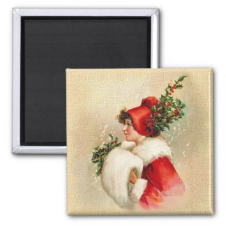 Holly Lady Square Magnet