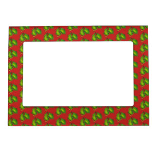 Holly Leaf Christmas Sugar Cookie Red Green Xmas Magnetic Frame
