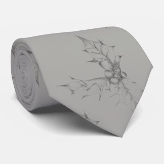 Holly Leaf Drawing Tie
