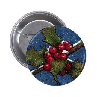 Holly Leaves and Berries With Snow Falling Pinback Button