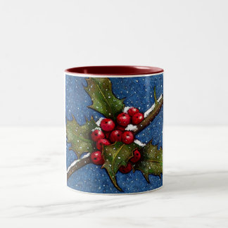 Holly Leaves and Berries With Snow Falling Mugs