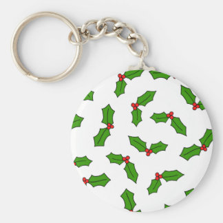Holly Leaves Basic Round Button Key Ring