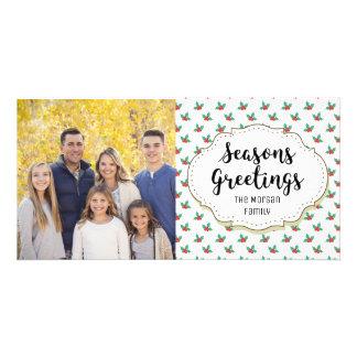 Holly Leaves Berries Seasons Greetings Photo Card