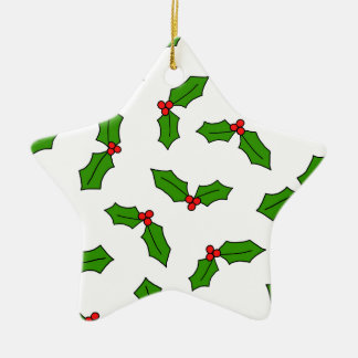 Holly Leaves Ceramic Star Decoration