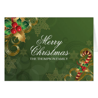 Holly Leaves Green Christmas Card