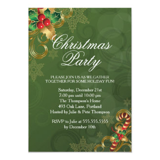 Holly Leaves Green Christmas Party Invitation