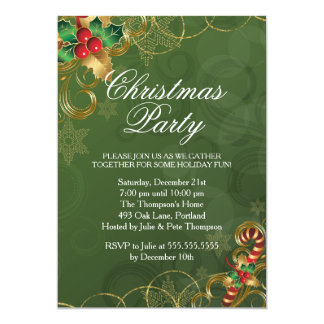"Holly Leaves Green Christmas Party Invitation 5"" X 7"" Invitation Card"