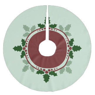 Holly Leaves Green Red Christmas Holidays Brushed Polyester Tree Skirt