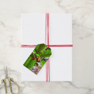 Holly Leaves II Holiday Nature Botanical Gift Tags