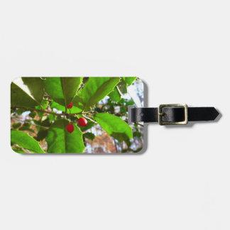 Holly Leaves II Holiday Nature Botanical Luggage Tag