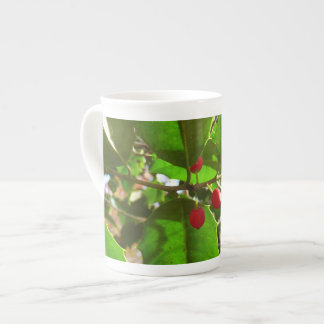 Holly Leaves II Holiday Nature Botanical Tea Cup