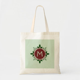 Holly Leaves Monogram Green Red Christmas Holidays Tote Bag