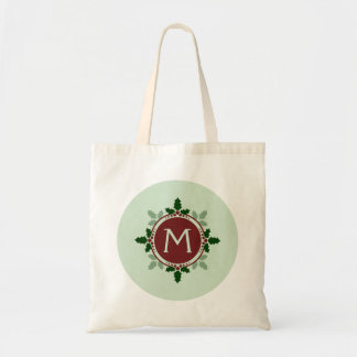 Holly Leaves Monogram Green Red Christmas Holidays Bag