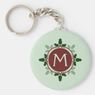 Holly Leaves Monogram Green Red Christmas Holidays Basic Round Button Key Ring