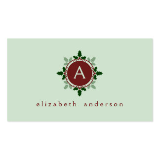 Holly Leaves Monogram Green Red Christmas Holidays Pack Of Standard Business Cards