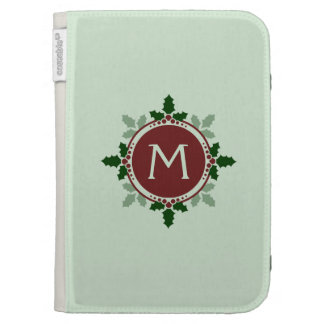 Holly Leaves Monogram Green Red Christmas Holidays Kindle 3G Covers