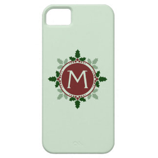 Holly Leaves Monogram Green Red Christmas Holidays iPhone 5 Case