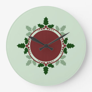 Holly Leaves Monogram Green Red Christmas Holidays Clock