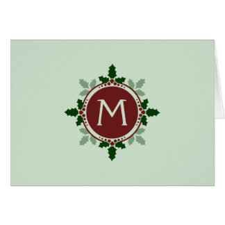 Holly Leaves Monogram Green Red Christmas Holidays Greeting Card