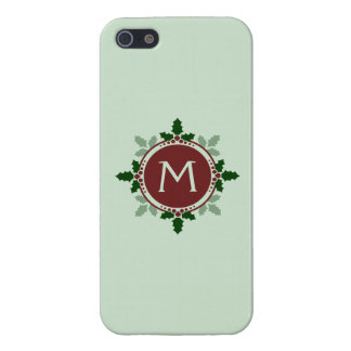 Holly Leaves Monogram Green Red Christmas Holidays Covers For iPhone 5