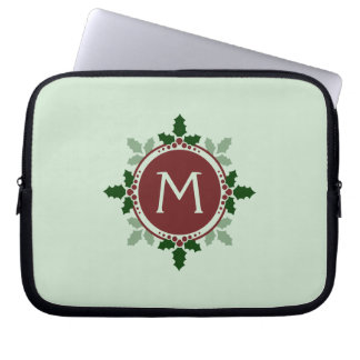 Holly Leaves Monogram Green Red Christmas Holidays Computer Sleeves