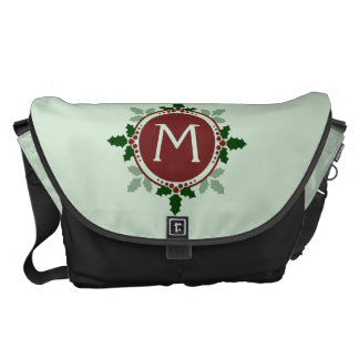 Holly Leaves Monogram Green Red Christmas Holidays Courier Bags