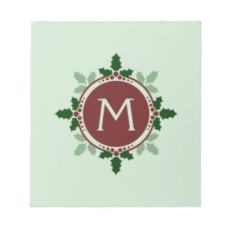 Holly Leaves Monogram Green Red Christmas Holidays Note Pad