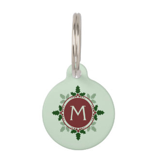 Holly Leaves Monogram Green Red Christmas Holidays Pet Name Tag