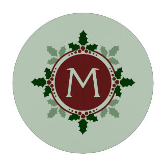 Holly Leaves Monogram Green Red Christmas Holidays Poker Chips