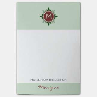 Holly Leaves Monogram Green Red Christmas Holidays Post-It Notes